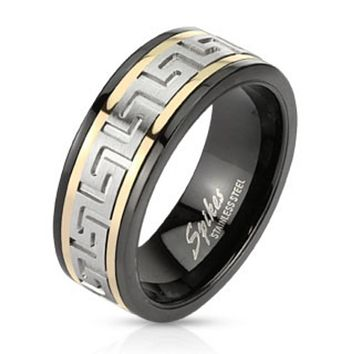 Maze Two Toned Spinner Ring Stainless Steel Black IP