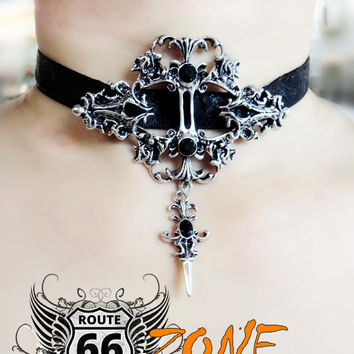 Lace Cross Choker Necklace Gothic Necklace Earrings Women's Jewelry Set