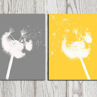Dandelion poster print Yellow Grey home decor Dandelion silhouette set Wall art printable Digital flower modern abstract INSTANT DOWNLOAD