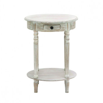 Distressed Oval Accent Table