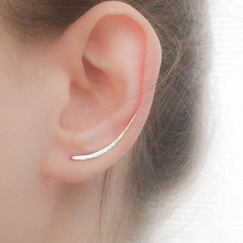 SALE - Ear Climber Earrings - Long Ear Climber - Silver Ear Climber - Ear Crawler - Bar Earrings - Silver Bar Earrings