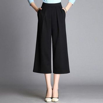 ESBG8W Spring Fall Loose Wide Leg Pants Capris Pants Casual Cropped Trousers Calf Length Ankle Length Plus Size Female Black White