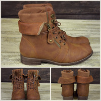 Sergeant Sassy Camel Sweater Ankle Fold Over Boots