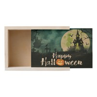 Spooky Haunted House Costume Night Sky Halloween Wooden Keepsake Box
