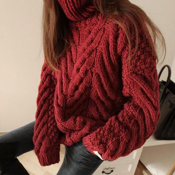 Women 2017 Autumn Winter Twist Braid Jacquard Weave Thick Turtleneck Loose Fashion Knit Sweater Female Warm Jumper Jersey