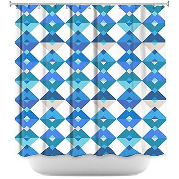 DiaNoche Designs Bathroom Shower Curtains by Julia Grifol - Triangles Blue