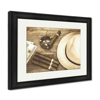 Framed Print, Retro Photo Table With Cuban Items