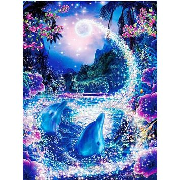 5D Diamond Painting Two Dolphins Magic Moon Kit