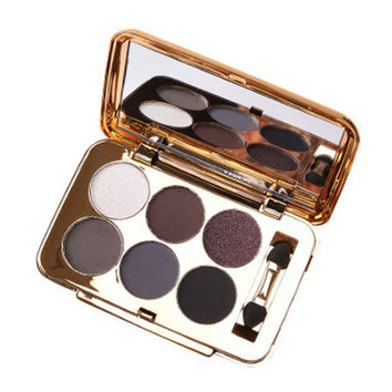 Cosmetic 6 Colours Pearl Matte Eyeshadow Palette with Mirror and Brush