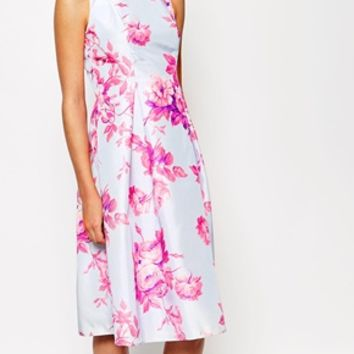 True Violet Sateen Floral Print Debutante Prom Midi Dress