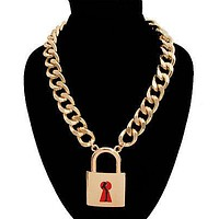Body Silhouette Lock Chain Necklace