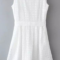 White Cut Out Lace Sleeveless Dress