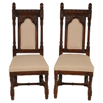19th-C. Gothic-Style  Chairs, Pair