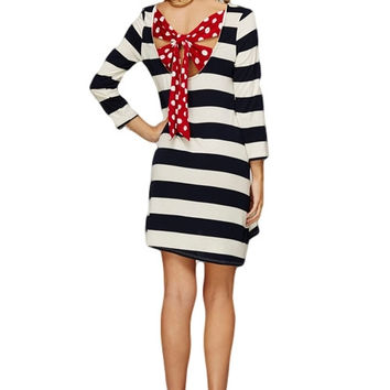 Back for More Stripes and Polka Dot Tunic Dress (Navy/Red)