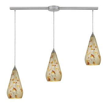 546-3L-SLVM-CRC Curvalo 3 Light Pendant In Satin Nickel And Silver Multi Crackle Glass - Free Shipping!