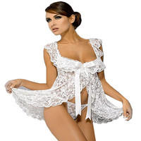 Women Sexy White bridal Lingerie Sets Wedding langerie G-String Gothic Transparent Lace Half Slips Intimates Plus Size XXL S-6XL