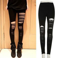 DCCKH6B Sexy Women Goth Punk Slashed Ripped Cut Out Slit Stretch Pants Leggings Black Hold Women Pencil Leggings