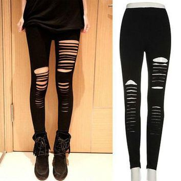 ONETOW Sexy Women Goth Punk Slashed Ripped Cut Out Slit Stretch Pants Leggings Black Hold Women Pencil Leggings