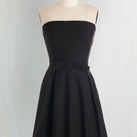 LBD Mid-length Strapless Fit & Flare Right on Timeless Dress in Black by ModCloth