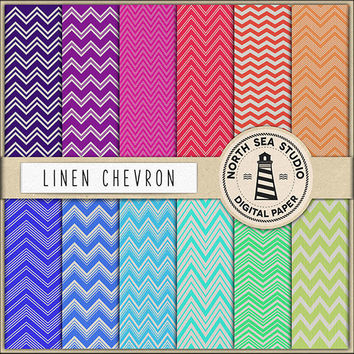 Chevron Digital Paper Textured Pattern Chevron Zig Zag Aqua Red Pink Navy Blue Green Textured Background Linen Canvas Textures 12x12 Inches