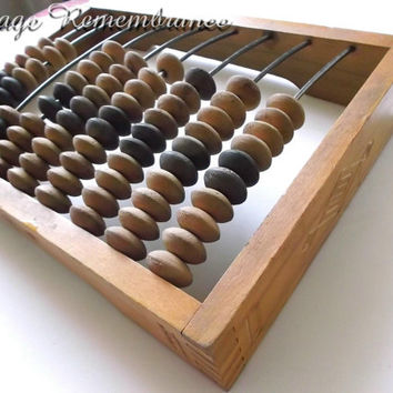 Vintage Soviet Abacus Counter Wooden Antique Calculator Made in USSR 1970s Retro Desk Office School Decor Wood Collectible
