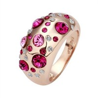Gold Plated Ring Jewelry Nickel Free Rhinestone Austrian Crystal Swarovski Elements Rose-stone, Size 8