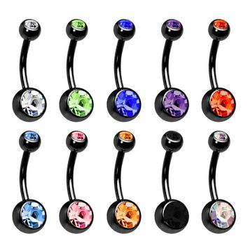 BodyJ4You Belly Button Rings Double Gem Lot of 10 Pieces Black Piercing Jewelry