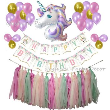 Unicorn Party Supplies Banner Unicorn Foil Balloon Paper Tassel Garland Favors for Kids Happy Birthday Decorations Baby Shower