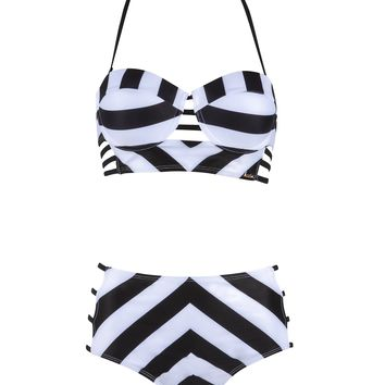 Parallel Lines High Waisted Two-Piece Swimsuit