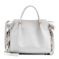 nina ricci - marché small leather tote with fur