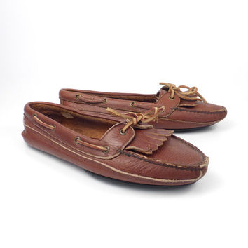 Brown Loafers  Moccasins Vintage 1980s Leather Slip on Shoes Polo Ralph Lauren men's size