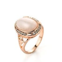 MLOVES Women's Classical Diamanted Opal Inlaid Ring