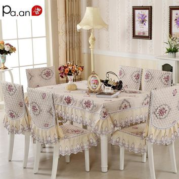 Europe Polyester Tablecloth 130x180cm Floral Embroidery Crocheted Table Clothes Chair Cover Home Wedding Decoration