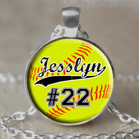Personalized Softball Necklace / Keychain