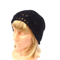 knitted black blue beanie hat, knit summer cap, knitting colorful women men spring hat, accessories, sun hat, head-dress, tam, slouche,
