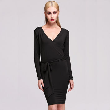 Stylish High Quality Lady Women Formal New Fashion Long Sleeve V-neck Sexy Dress