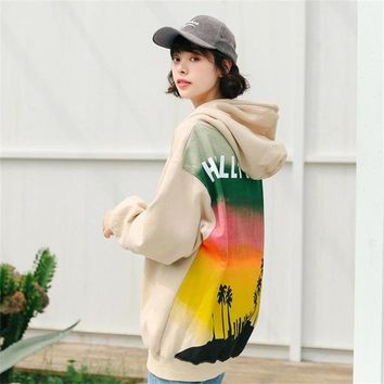 Women's Hoody Kawaii Ulzzang Student Fresh Behind Printing Thick Female Hoodies Ladies Cute Clothes Harajuku Svitshot For Women