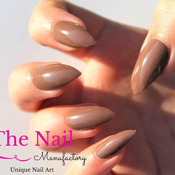 Chocolate Brown False Nails Glossy - Handpainted Fake Nails - Choose Stiletto Nails, Oval or Square Nails - Artificial Nails -  Nail Art