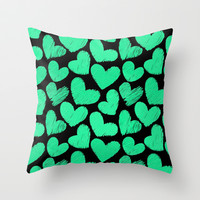 Sketchy hearts in turquoise and black Throw Pillow by Silvianna