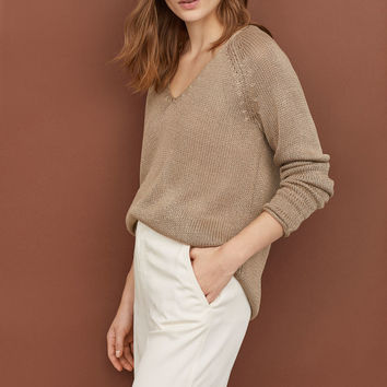 Loose-knit Sweater - Taupe - Ladies | H&M US