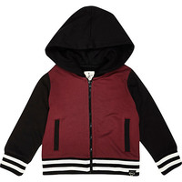 River Island Mini boys dark red bomber jacket