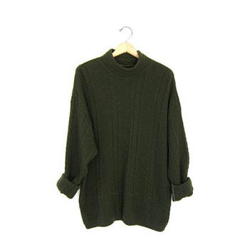Army Green Wool Knit Sweater Mock Neck Jumper Oversized Funnel Collar Tunic Fall Sweater Cable Knit