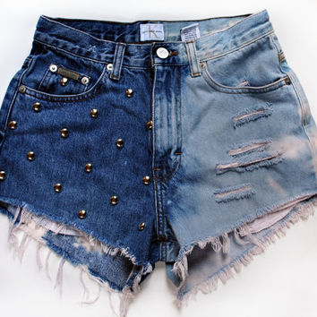 Vintage Denim Shorts High Waisted Half Bleached and STUDDED Made to order