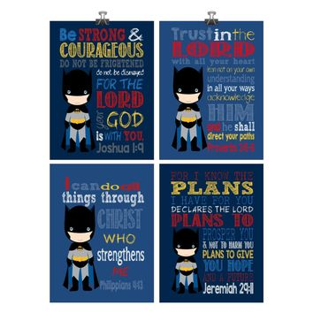 Batman Superhero Christian Nursery Decor Art Set of 4 Prints