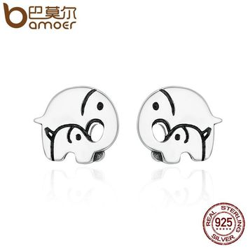 BAMOER Design New 925 Sterling Silver Elephant Mother Family Love Stud Earrings for Women Sterling Silver Jewelry Gift SCE182