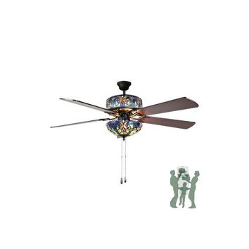 Tiffany Style Stained Glass Halston Ceiling Fan - Blue by River of Goods Item: 16160S