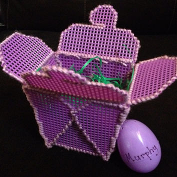 Purple Plastic Canvas Takeout Box with Matching Personalized Easter Egg