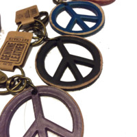 Genuine Leather 70s Key Chain (Peace Sign) backpack clip