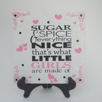 Tiles with Sayings,Tiles WIth Words,Personalized Tiles,Gifts For Girls,Sugar And Spice,Vinyl On Tile,Tiles With Vinyl,Tile SIgns
