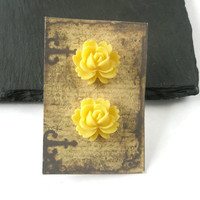Earrings Stud Post Bright yellow Resin Roses Flower jewellery Everyday Wear Pretty jewelry